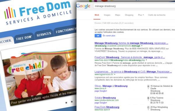 Action en positionnement / référencement pour Free Dom'